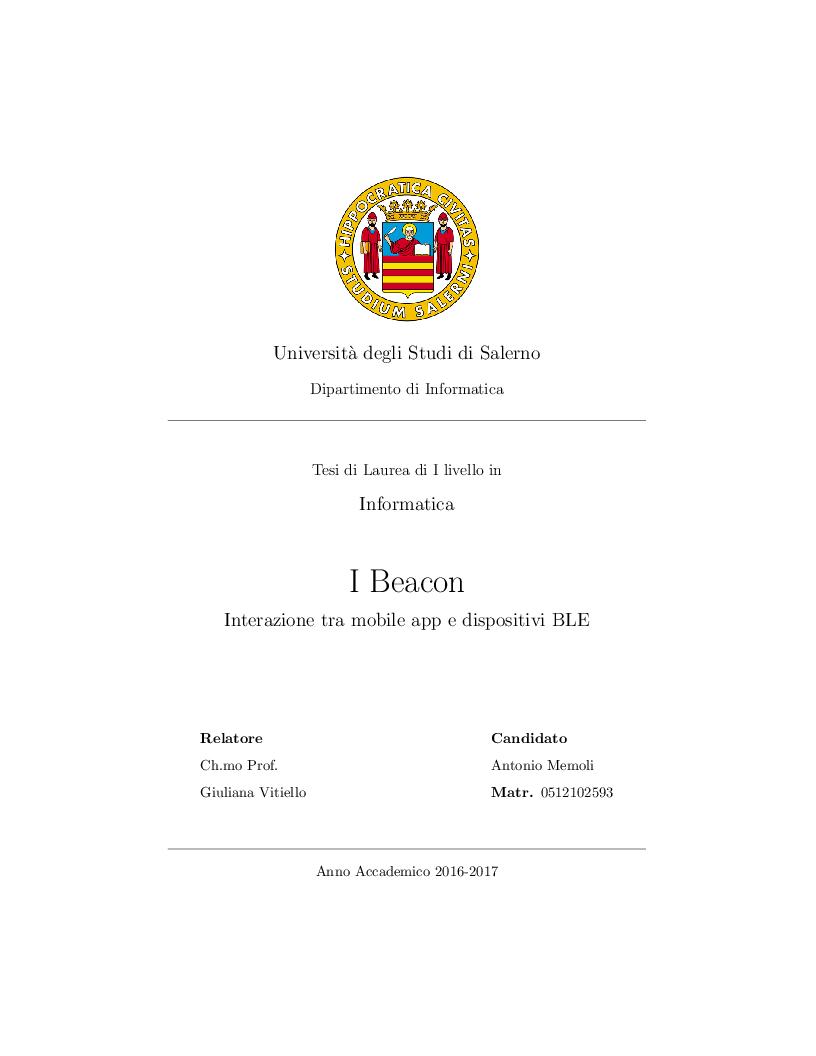 Anteprima della tesi: I Beacon, interazione tra mobile app e dispositivi BLE, Pagina 1