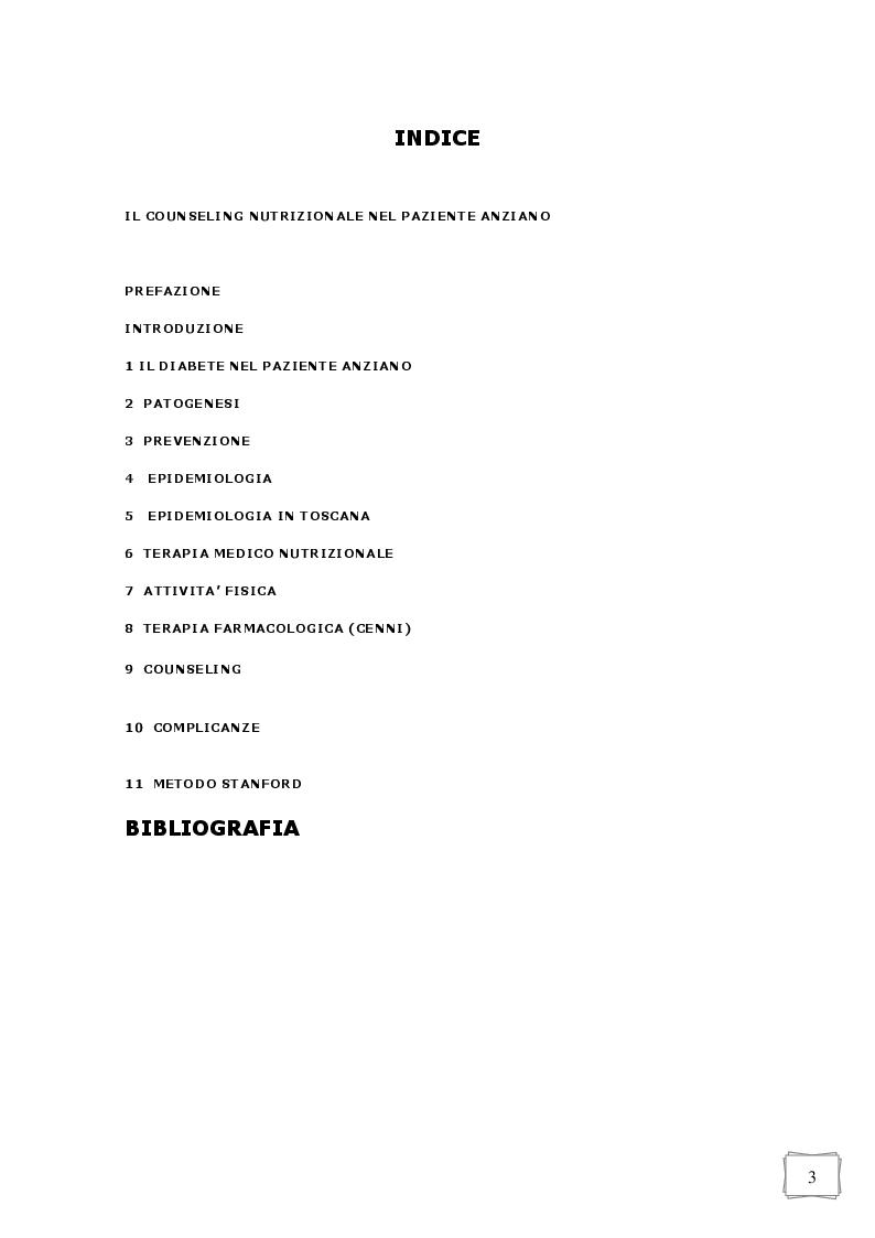 Indice della tesi: Alimentazione e conseling nel paziente diabetico anziano, Pagina 1