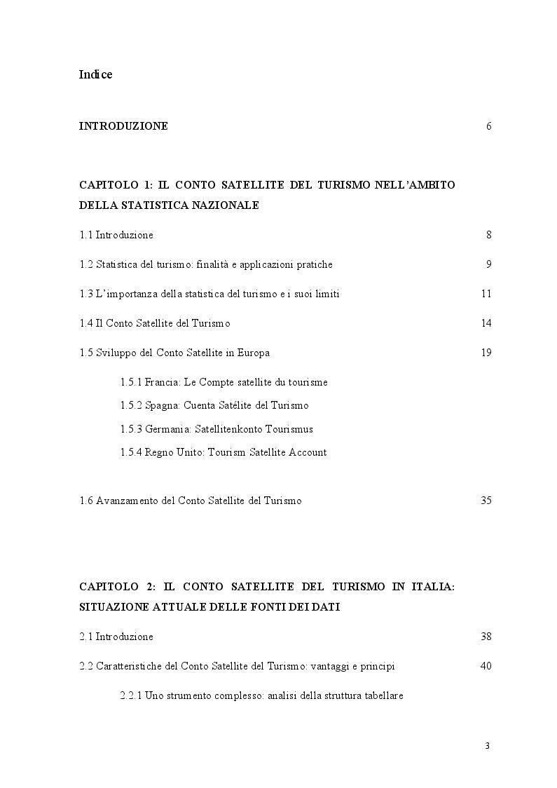 Indice della tesi: Il conto satellite del turismo italiano: analisi delle criticità del sistema statistico nazionale e proposte migliorative, Pagina 1