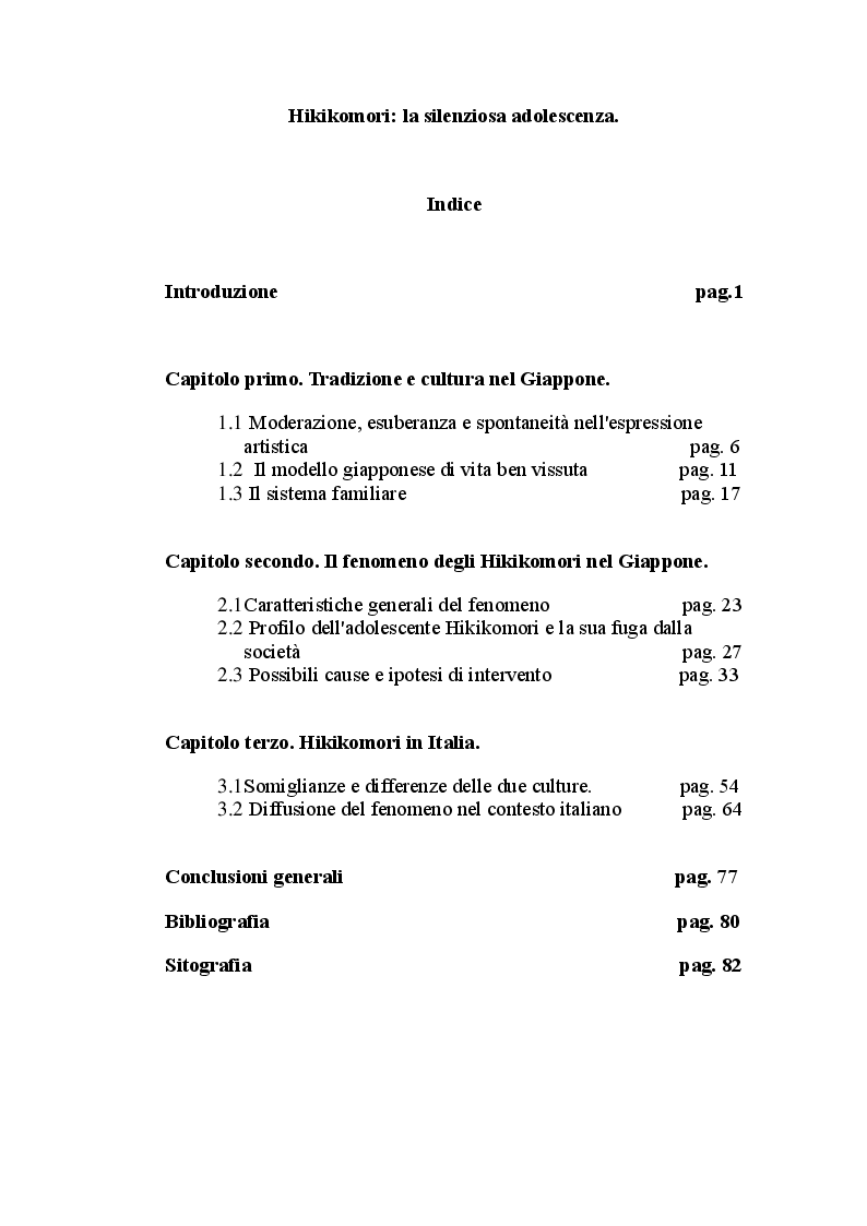 Indice della tesi: Hikikomori: la silenziosa adolescenza, Pagina 1