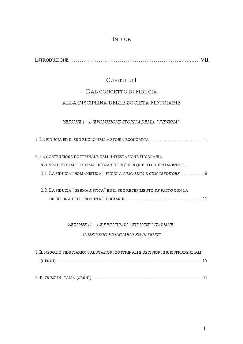 Indice della tesi: Le società fiduciarie e il controllo pubblico. La vigilanza di Banca d'Italia., Pagina 1