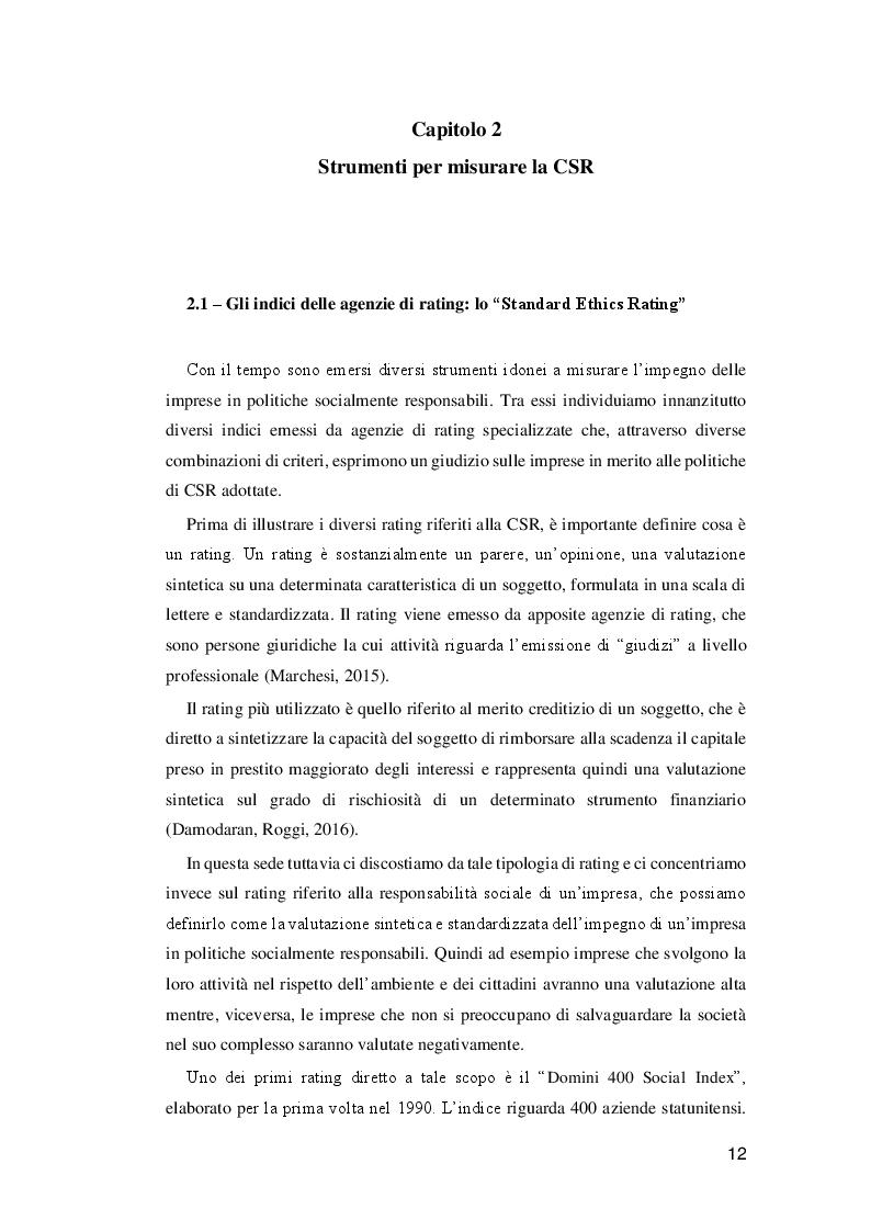 Estratto dalla tesi: Analisi della relazione tra CSR e performance finanziaria dell'impresa