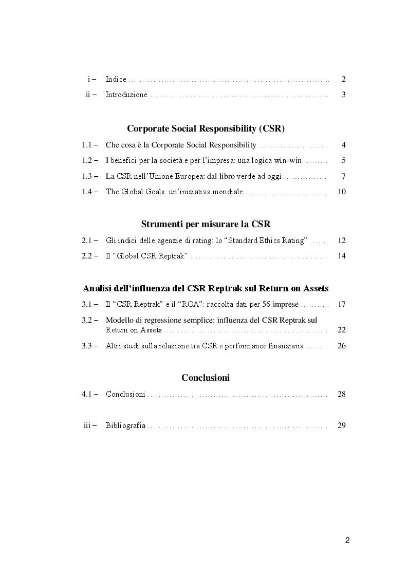 Indice della tesi: Analisi della relazione tra CSR e performance finanziaria dell'impresa, Pagina 1