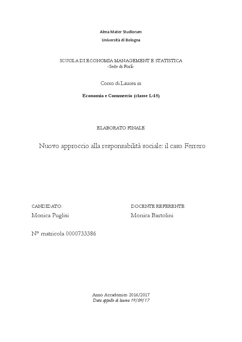 Anteprima della tesi: Nuovo approccio alla responsabilità sociale: il caso Ferrero, Pagina 1