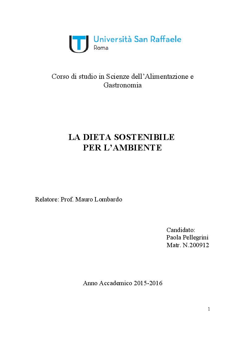 Anteprima della tesi: La dieta sostenibile per l'ambiente, Pagina 1