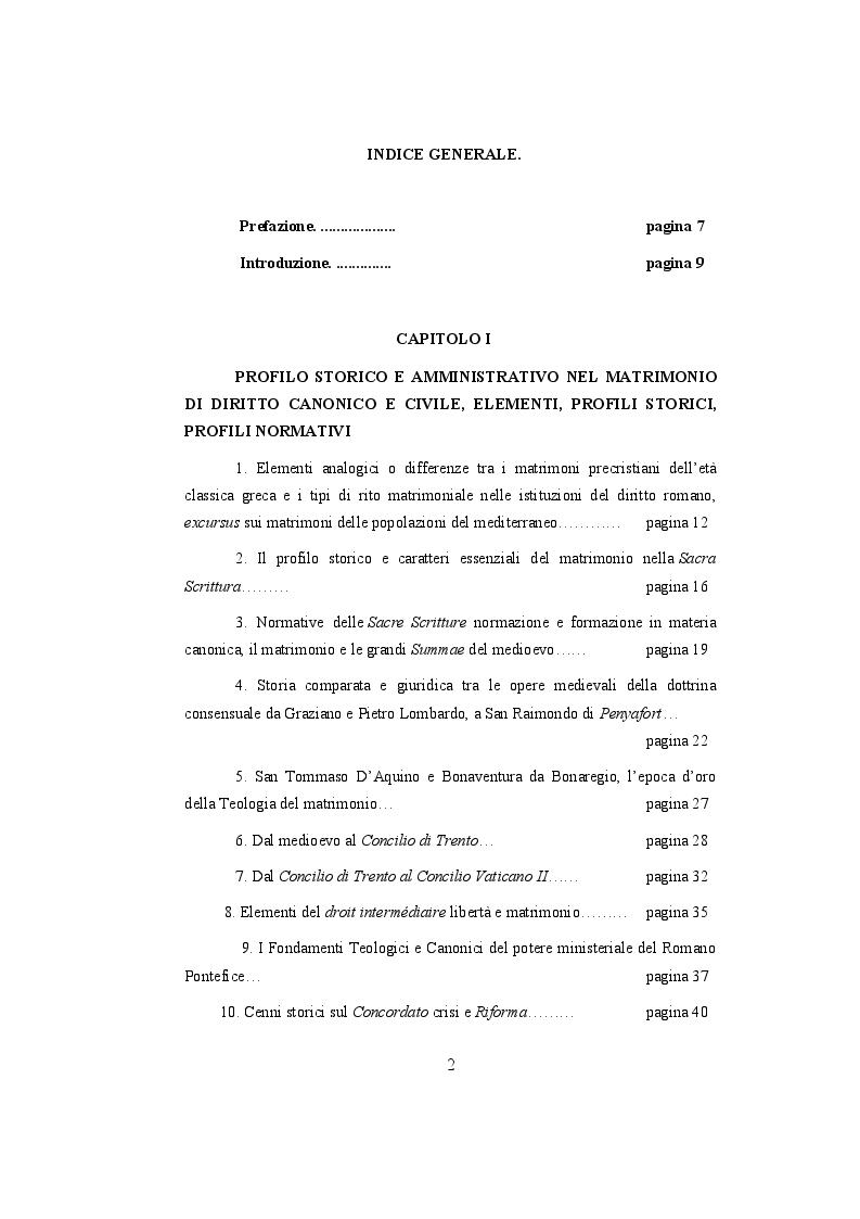 Indice della tesi: Il matrimonio nell'ordinamento dello Ius Ecclesia, e la comparazione con l'ordinamento italiano aspetti storici, sistematici e processuali., Pagina 1