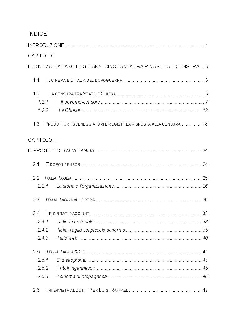 Indice della tesi: L'Italia che taglia: analisi degli studi sulla censura cinematografica italiana negli anni Cinquanta, Pagina 1