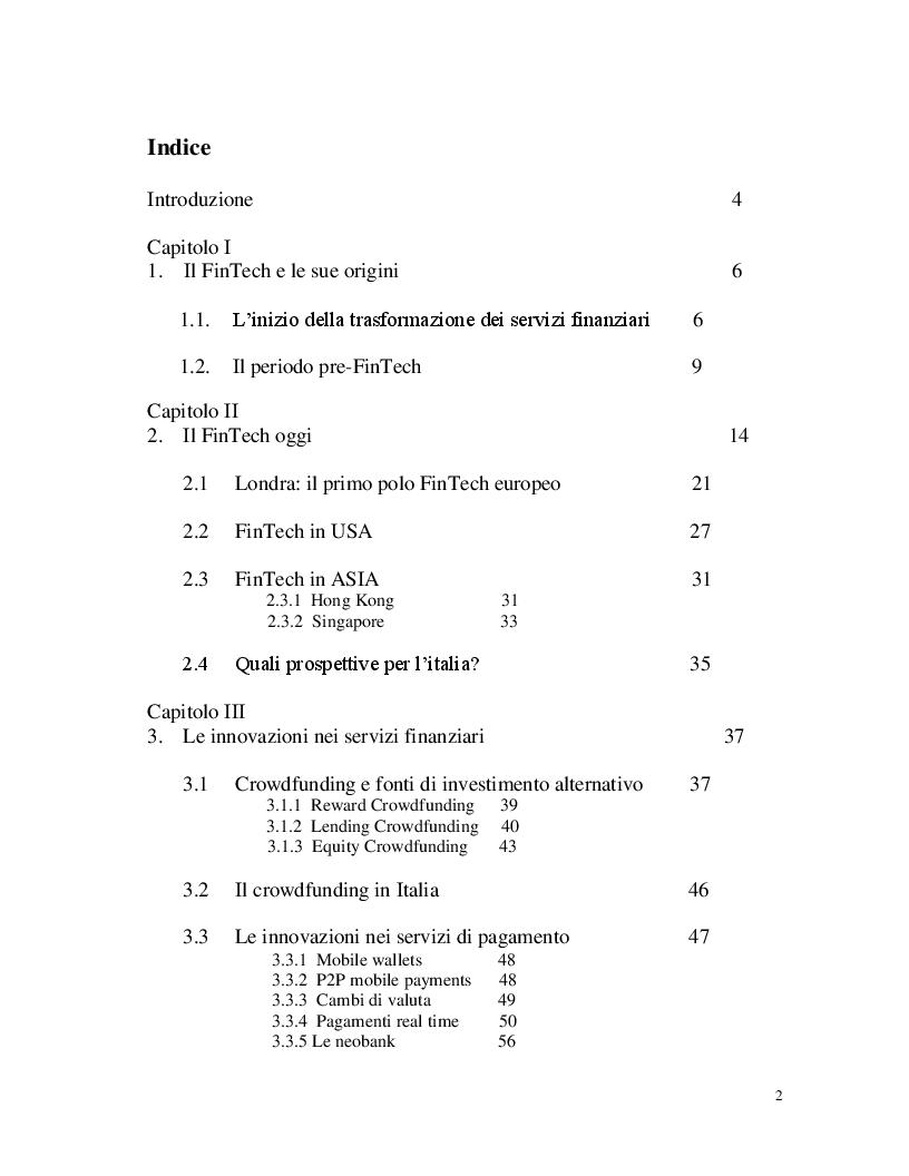 Indice della tesi: FinTech: la digitalizzazione dei servizi finanziari, Pagina 1