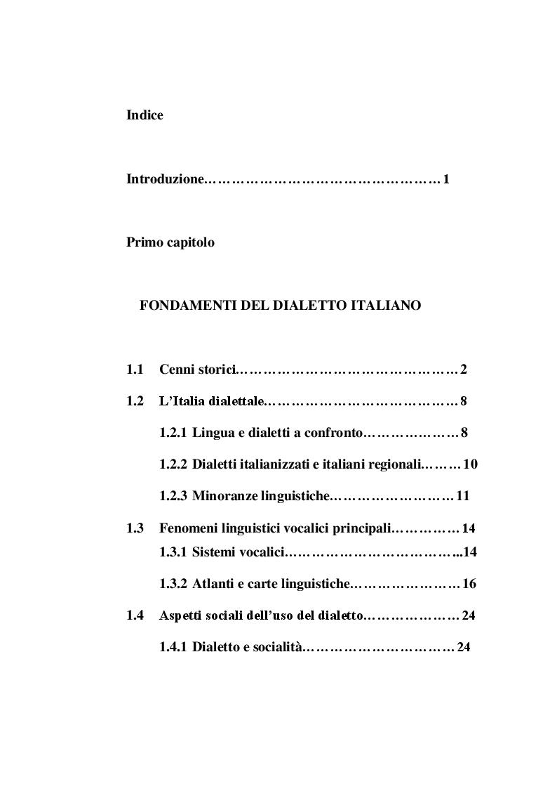 Indice della tesi: L'uso del dialetto in pubblicità, Pagina 1