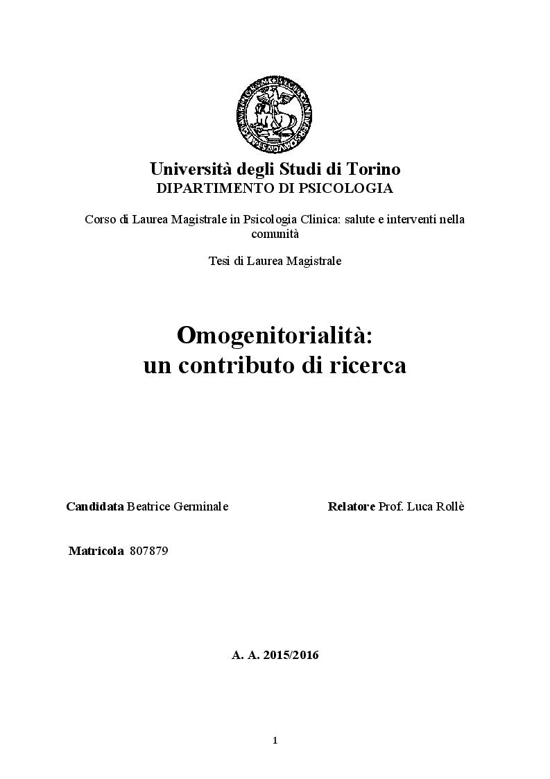 Anteprima della tesi: Omogenitorialità: un contributo di ricerca, Pagina 1