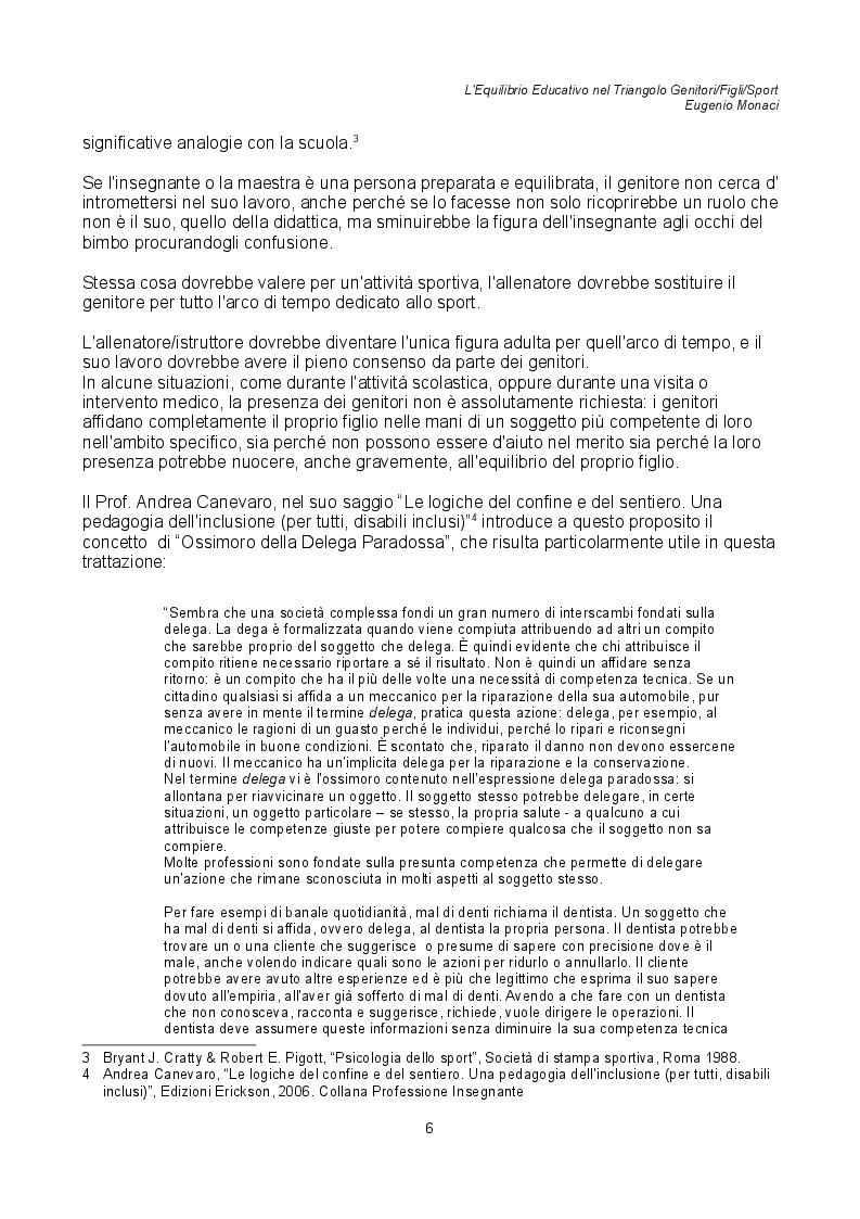 Estratto dalla tesi: L'Equilibrio Educativo nel Triangolo Genitori / Figli / Sport
