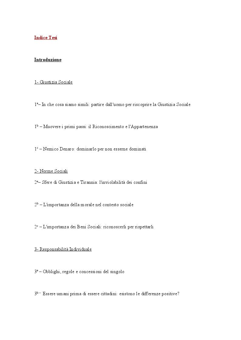 Indice della tesi: Giustizia Sociale in Michael Walzer: Norme Sociali e Responsabilità Individuale, Pagina 1