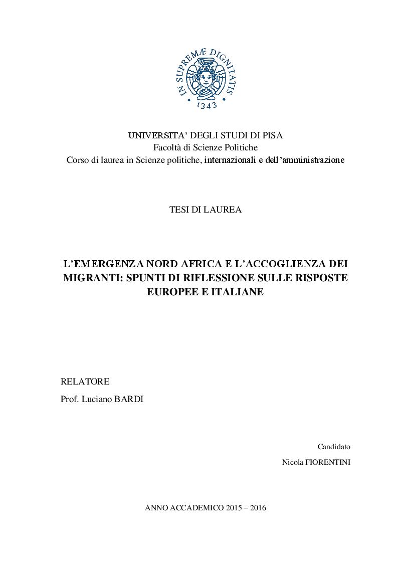 Anteprima della tesi: L'emergenza Nord Africa e l'accoglienza dei migranti: spunti di riflessione sulle risposte europee e italiane, Pagina 1