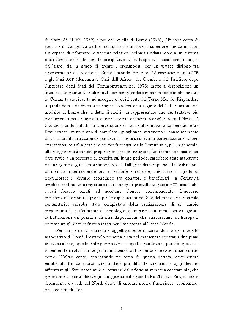 Anteprima della tesi: La politica di cooperazione comunitaria negli Stati ACP: particolarità e limiti di un modello associativo., Pagina 4