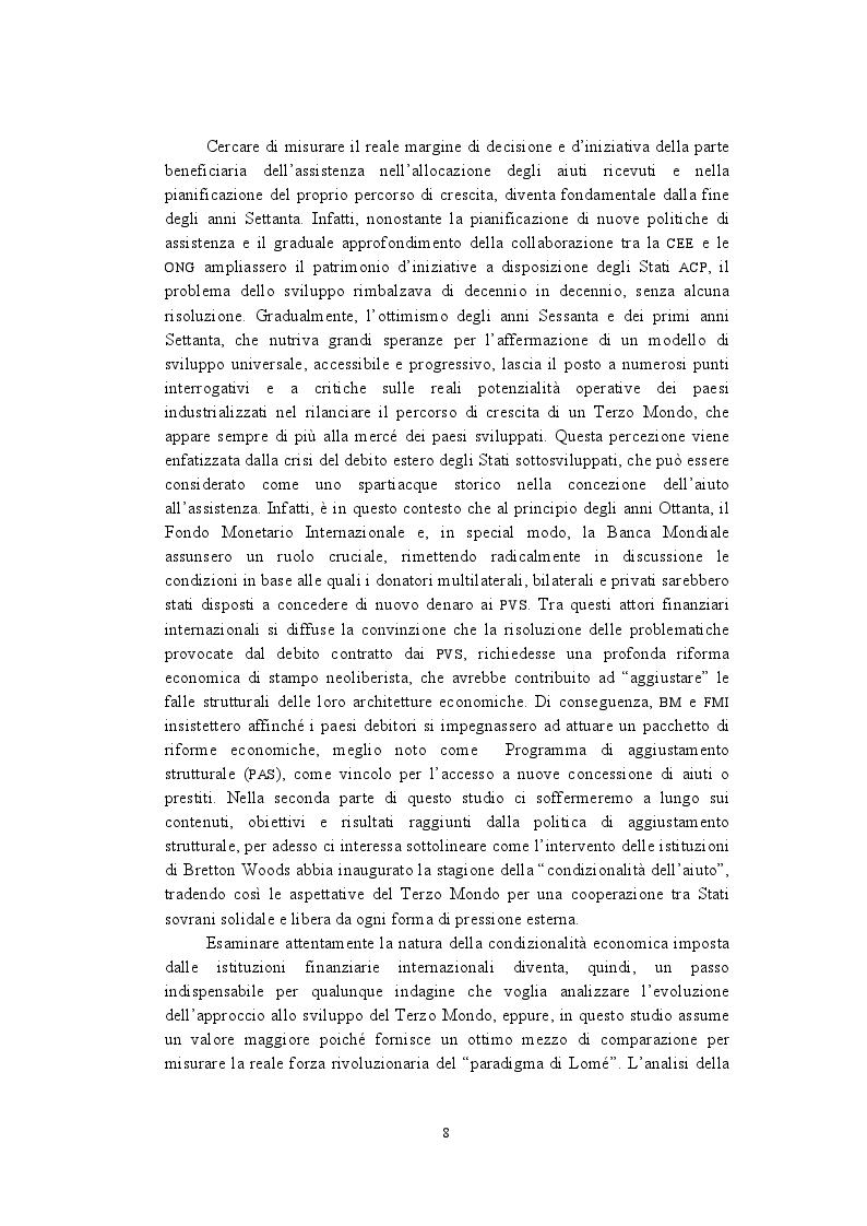 Anteprima della tesi: La politica di cooperazione comunitaria negli Stati ACP: particolarità e limiti di un modello associativo., Pagina 5