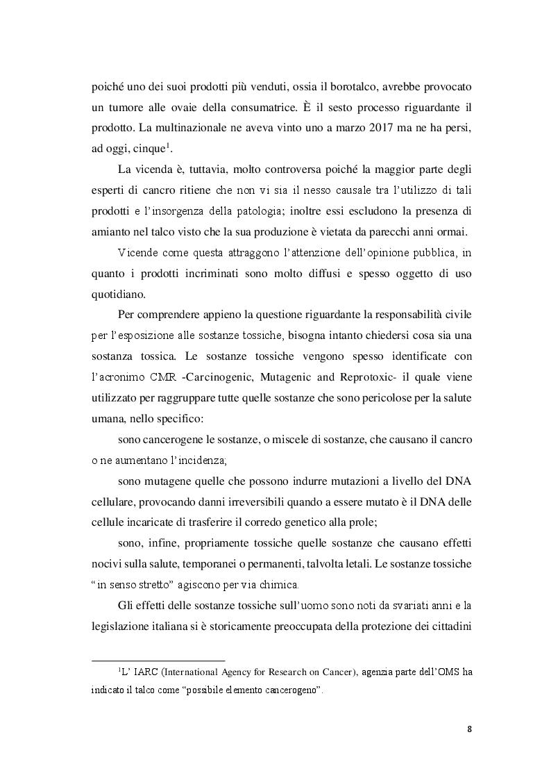 Anteprima della tesi: La responsabilità civile per l'esposizione alle sostanze tossiche, Pagina 3