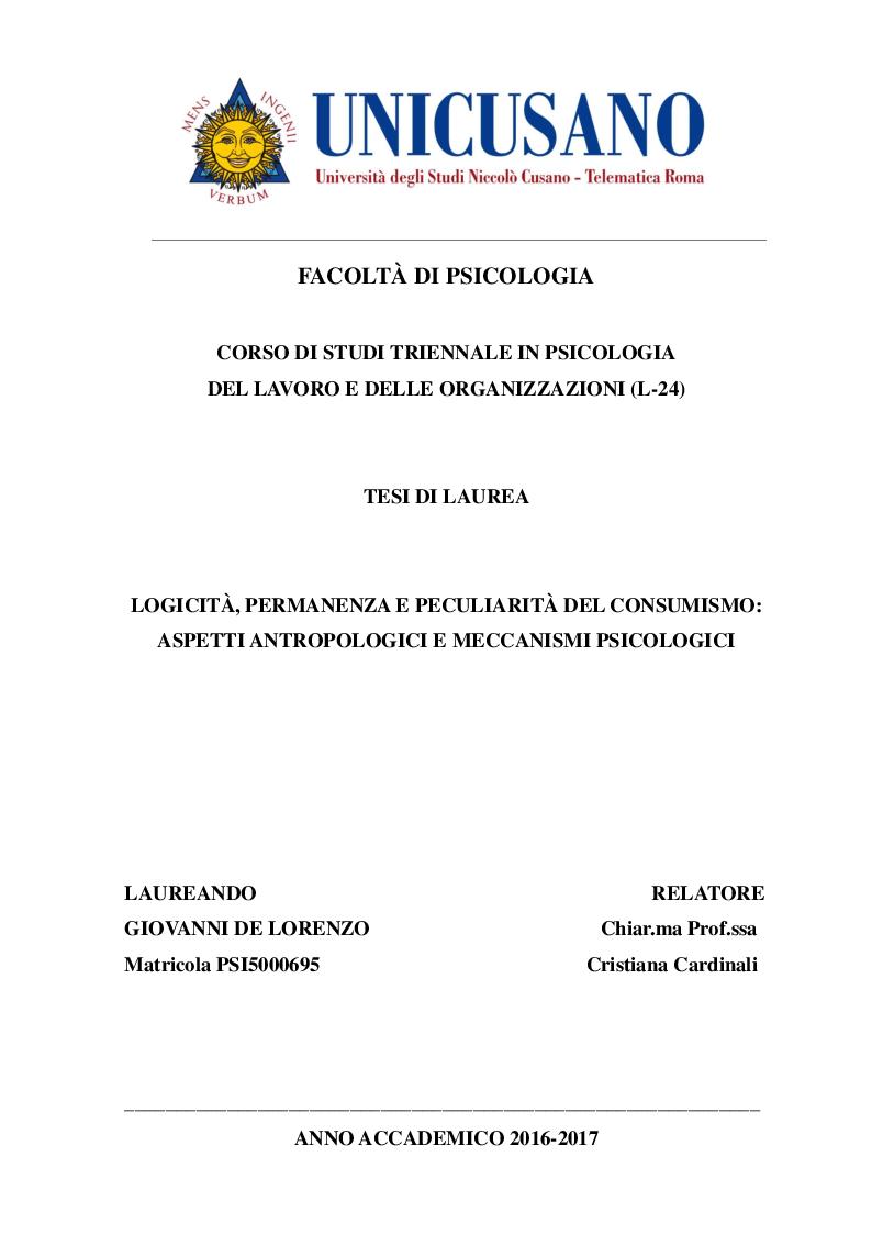 Anteprima della tesi: Logicità, permanenza e peculiarità del consumismo: aspetti antropologici e meccanismi psicologici, Pagina 1