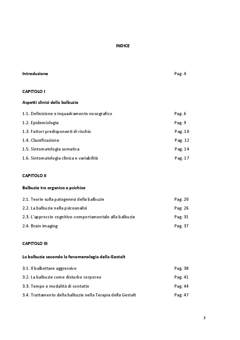 Indice della tesi: ''Parole in trappola'' - scacco alla balbuzie con l'approccio gestaltico ed analitico transazionale, Pagina 1