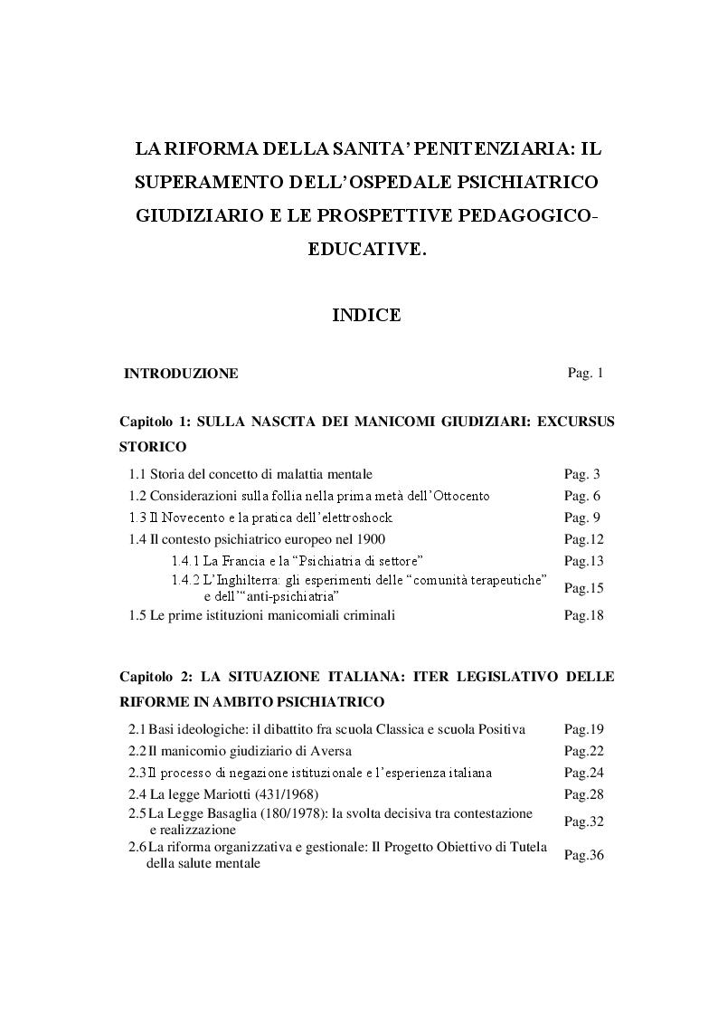 Indice della tesi: La riforma della sanità penitenziaria: il superamento dell'ospedale psichiatrico giudiziario e le prospettive pedagogico-educative, Pagina 1