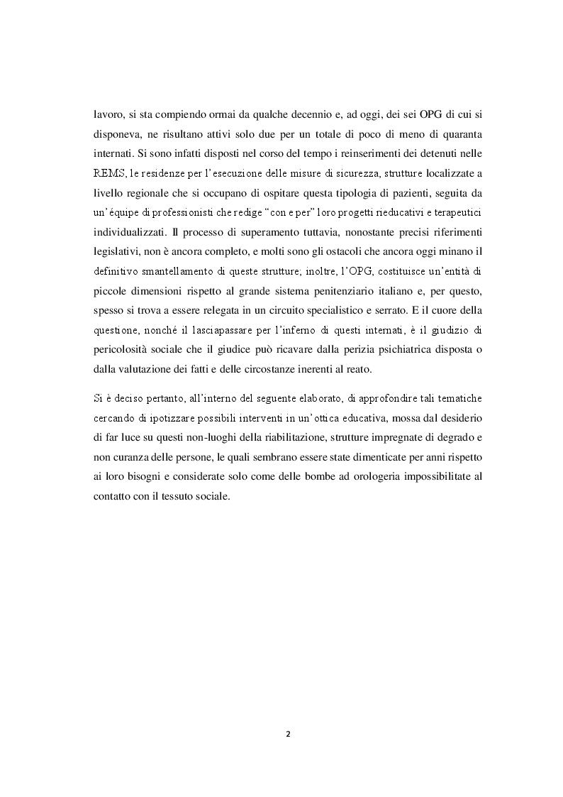 Anteprima della tesi: La riforma della sanità penitenziaria: il superamento dell'ospedale psichiatrico giudiziario e le prospettive pedagogico-educative, Pagina 3