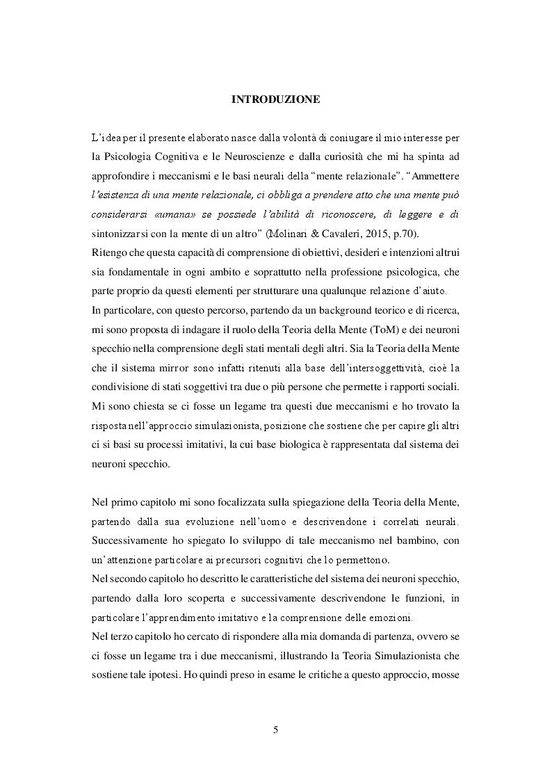 Anteprima della tesi: Teoria della Mente e Neuroni Specchio. Due spiegazioni all'intersoggettività, Pagina 2