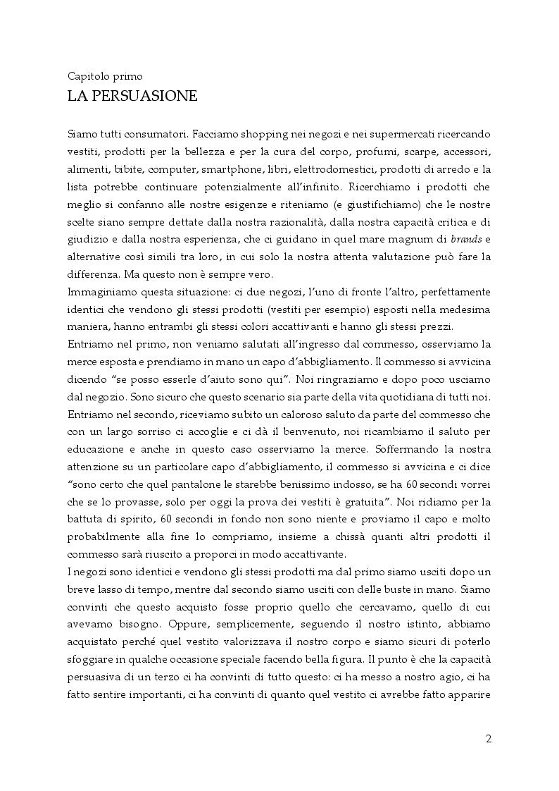 Anteprima della tesi: Persuasione e tecniche di vendita, Pagina 3