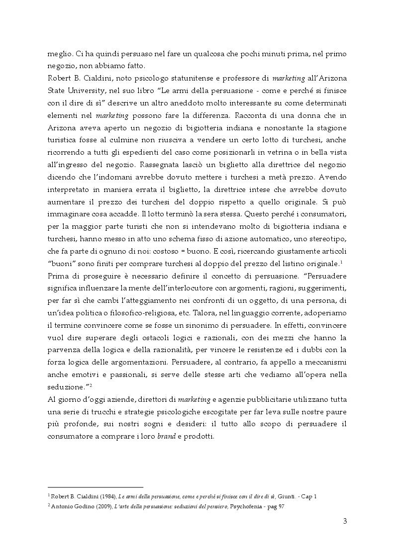 Anteprima della tesi: Persuasione e tecniche di vendita, Pagina 4