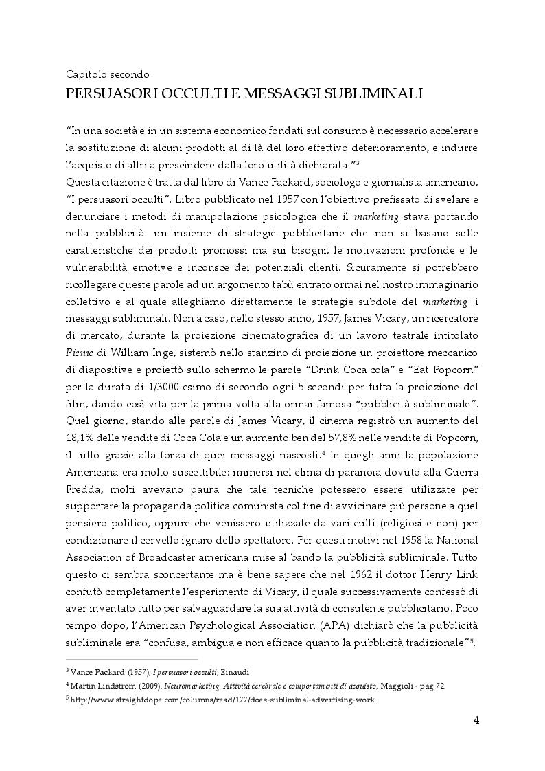 Anteprima della tesi: Persuasione e tecniche di vendita, Pagina 5