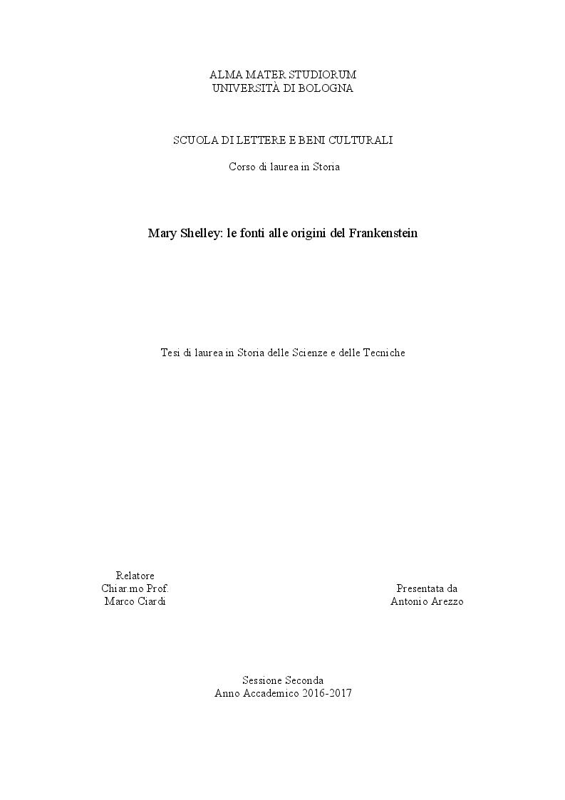 Anteprima della tesi: Mary Shelley: le fonti alle origini del Frankenstein, Pagina 1