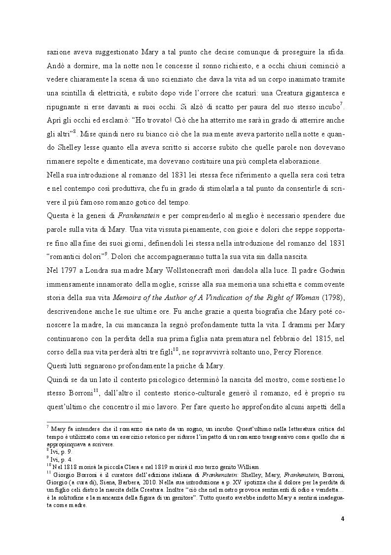 Anteprima della tesi: Mary Shelley: le fonti alle origini del Frankenstein, Pagina 3