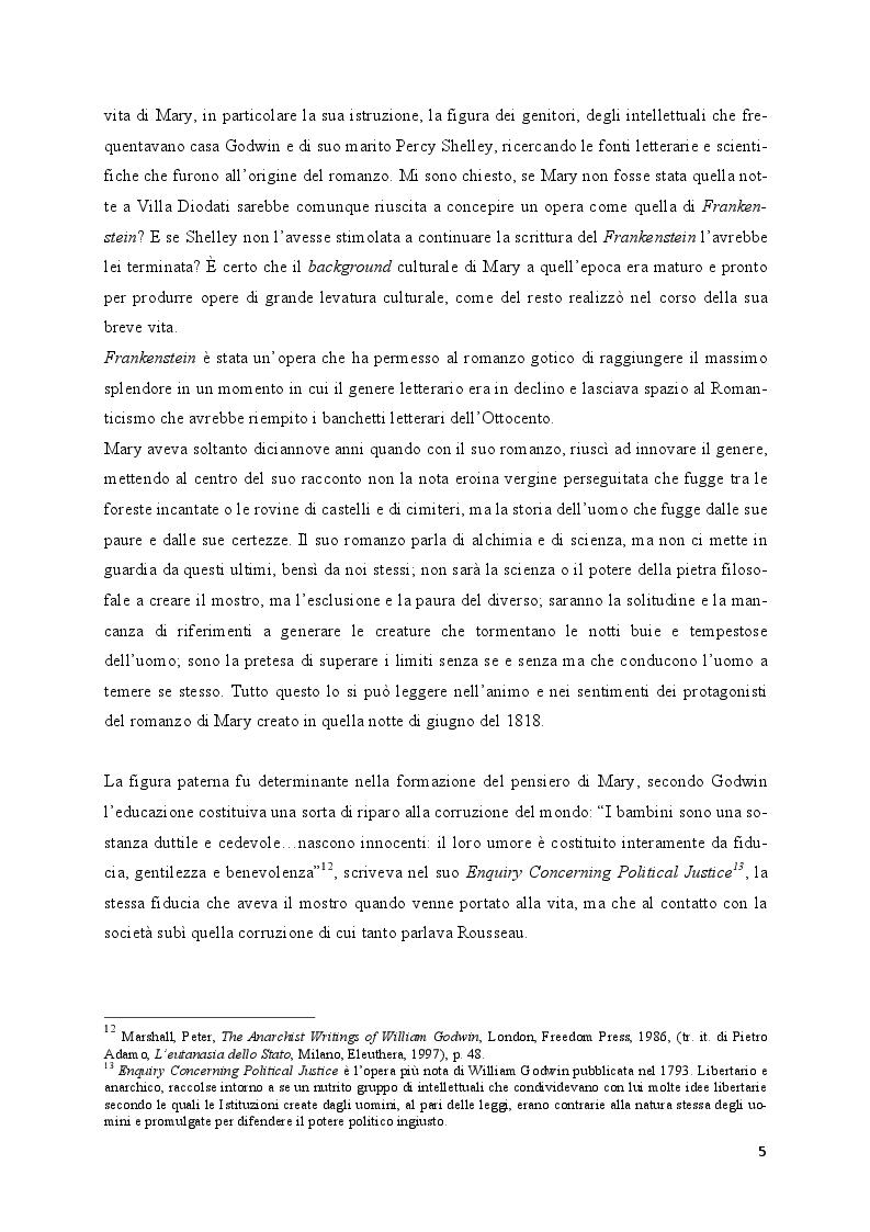 Anteprima della tesi: Mary Shelley: le fonti alle origini del Frankenstein, Pagina 4