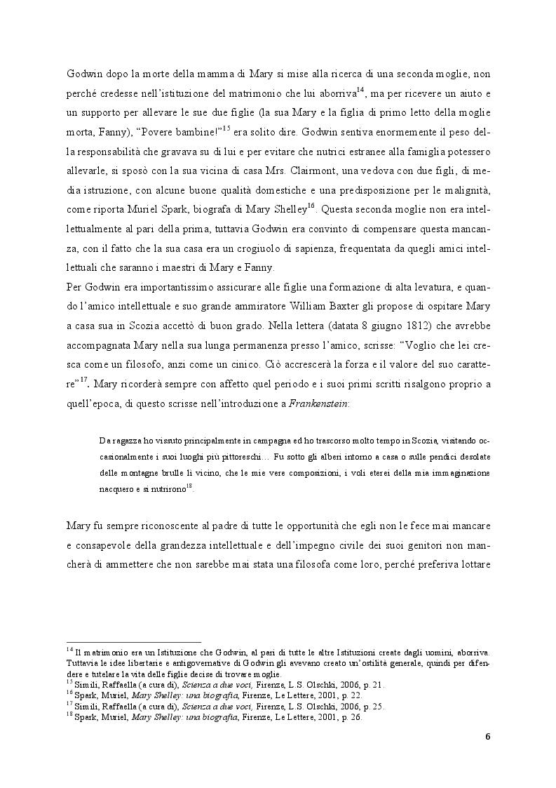 Anteprima della tesi: Mary Shelley: le fonti alle origini del Frankenstein, Pagina 5