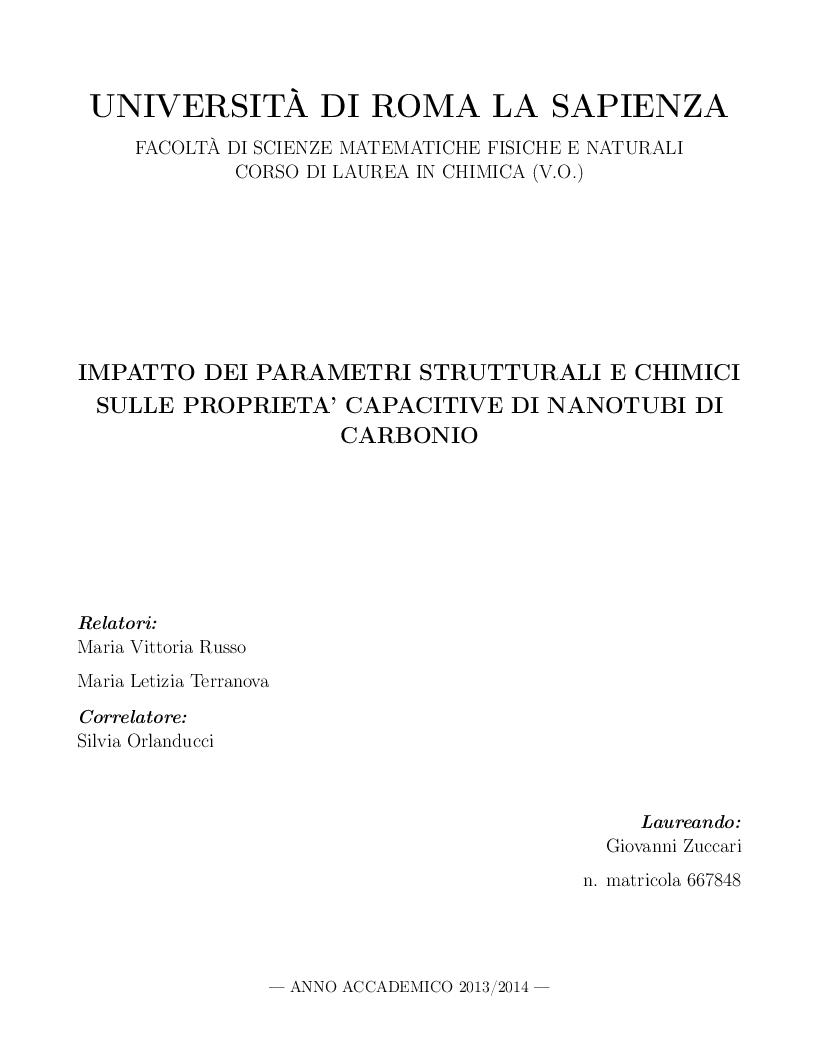 Anteprima della tesi: Impatto dei parametri strutturali e chimici sulle proprietà capacitive di nanotubi di carbonio, Pagina 1