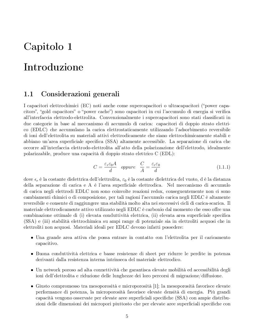 Anteprima della tesi: Impatto dei parametri strutturali e chimici sulle proprietà capacitive di nanotubi di carbonio, Pagina 2