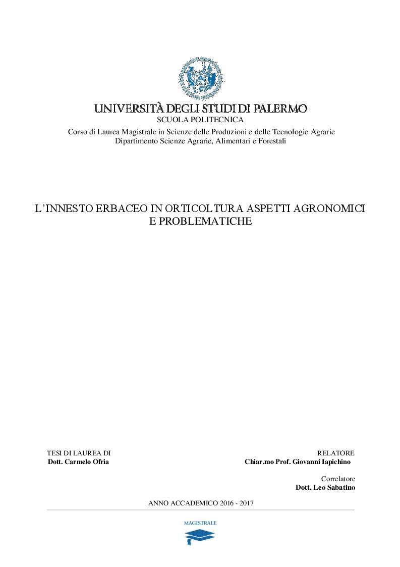 Anteprima della tesi: L'innesto erbaceo in orticoltura aspetti agronomici e problematiche, Pagina 1