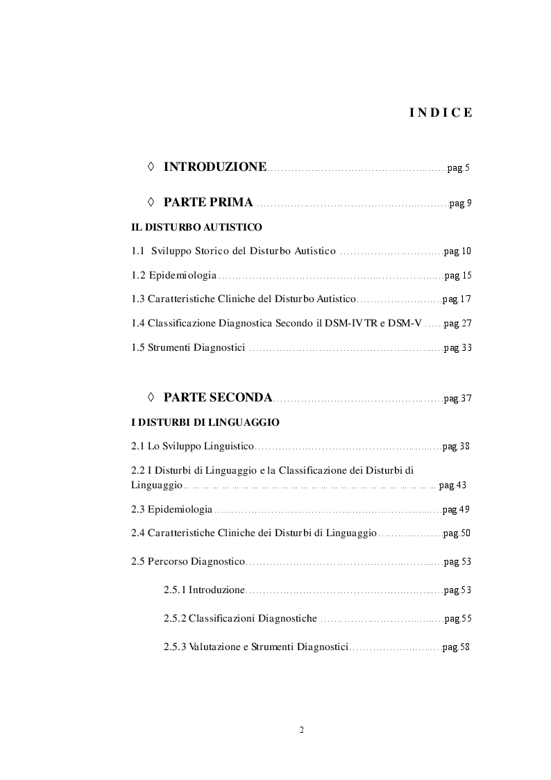 Indice della tesi: Fattori di Rischio Materni e Fetali nel Disturbo dello Spettro Autistico a Confronto con Altri Disturbi di Sviluppo, Pagina 1