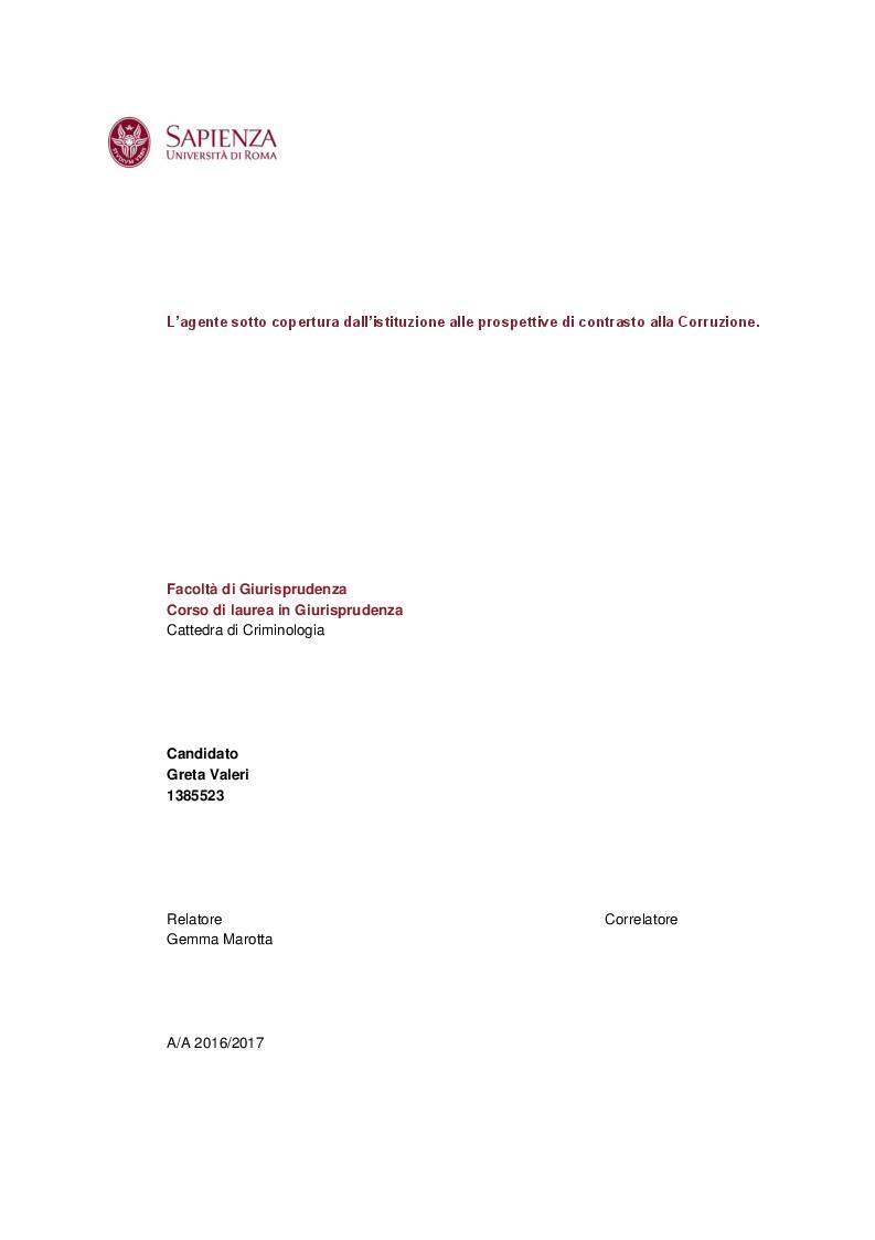 Anteprima della tesi: L'agente sotto copertura dall'istituzione alle prospettive di contrasto alla corruzione, Pagina 1