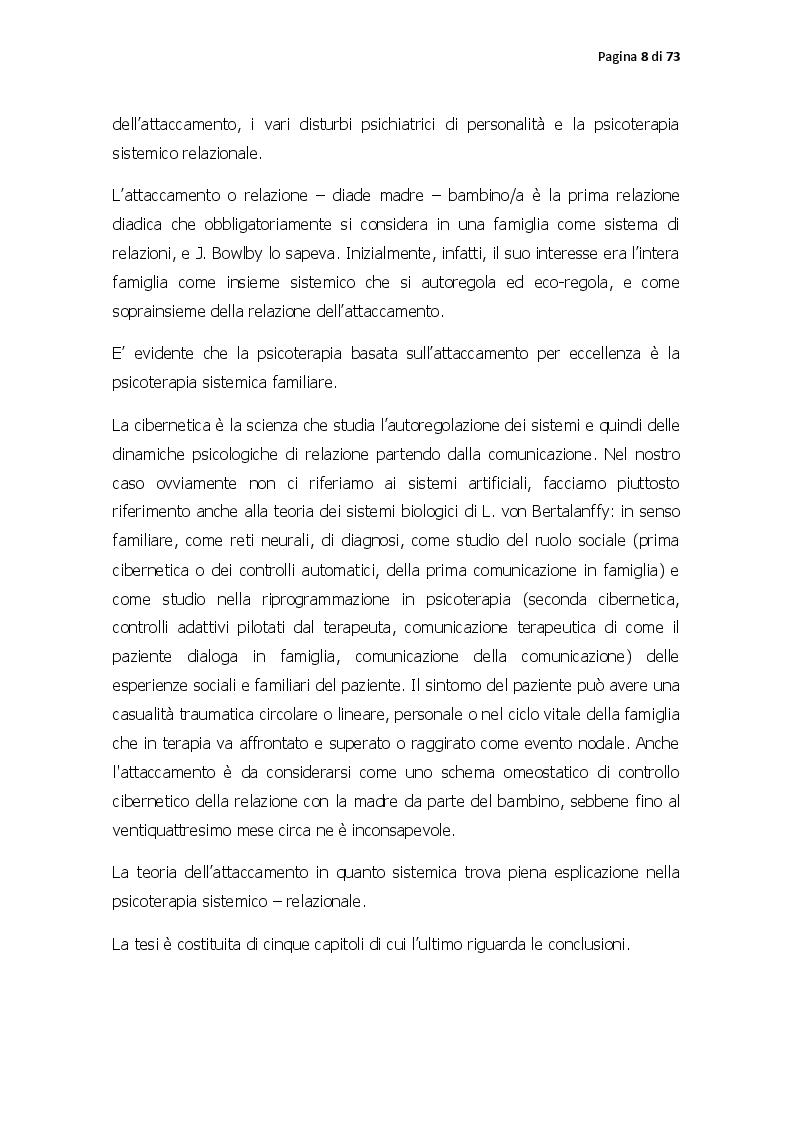 Anteprima della tesi: Pattern di attaccamento, disturbi psichiatrici e la psicoterapia sistemico relazionale, Pagina 3