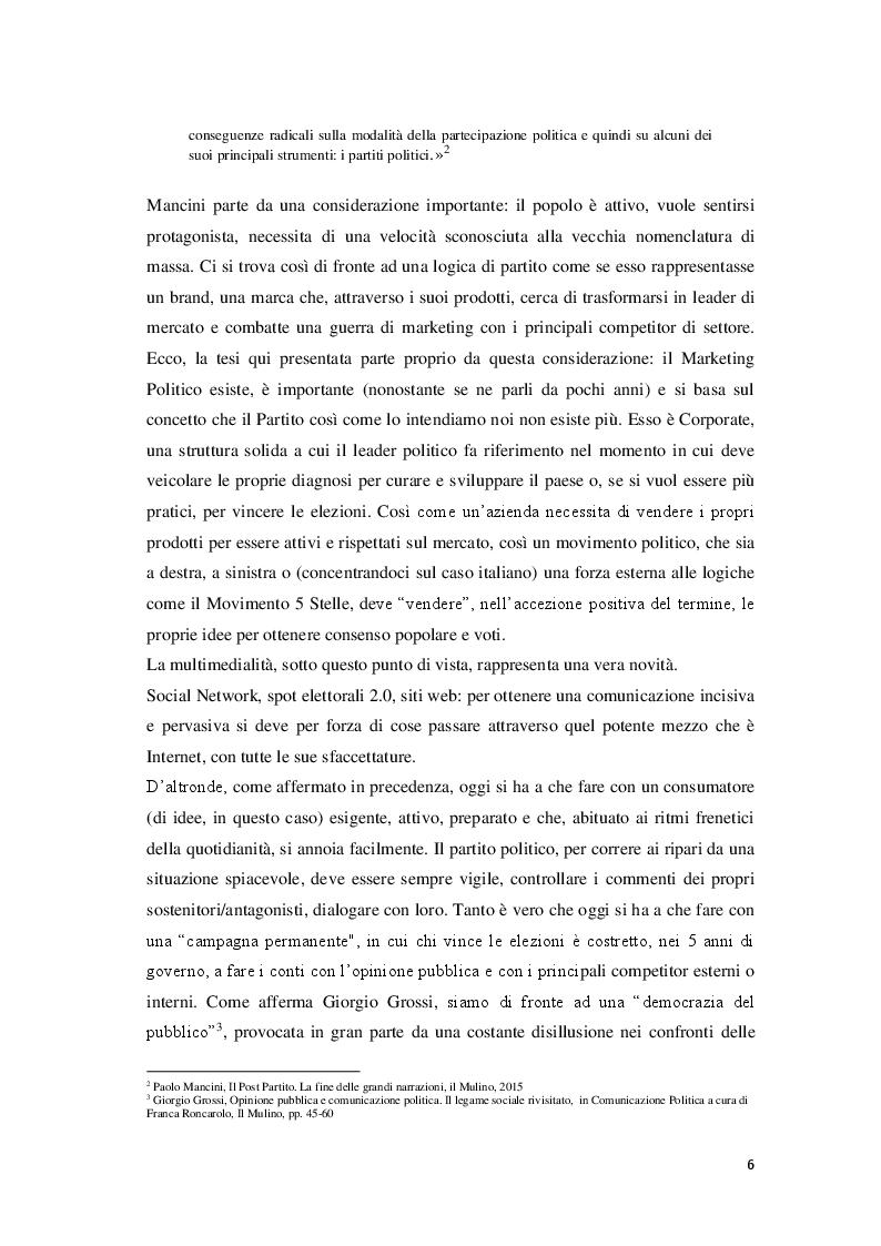 Anteprima della tesi: Marketing Politico: dai partiti nazionali alle amministrative di Milano, Pagina 4