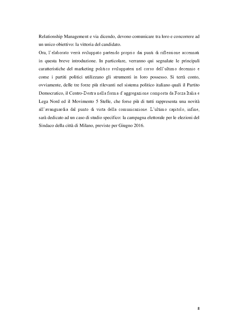 Anteprima della tesi: Marketing Politico: dai partiti nazionali alle amministrative di Milano, Pagina 6