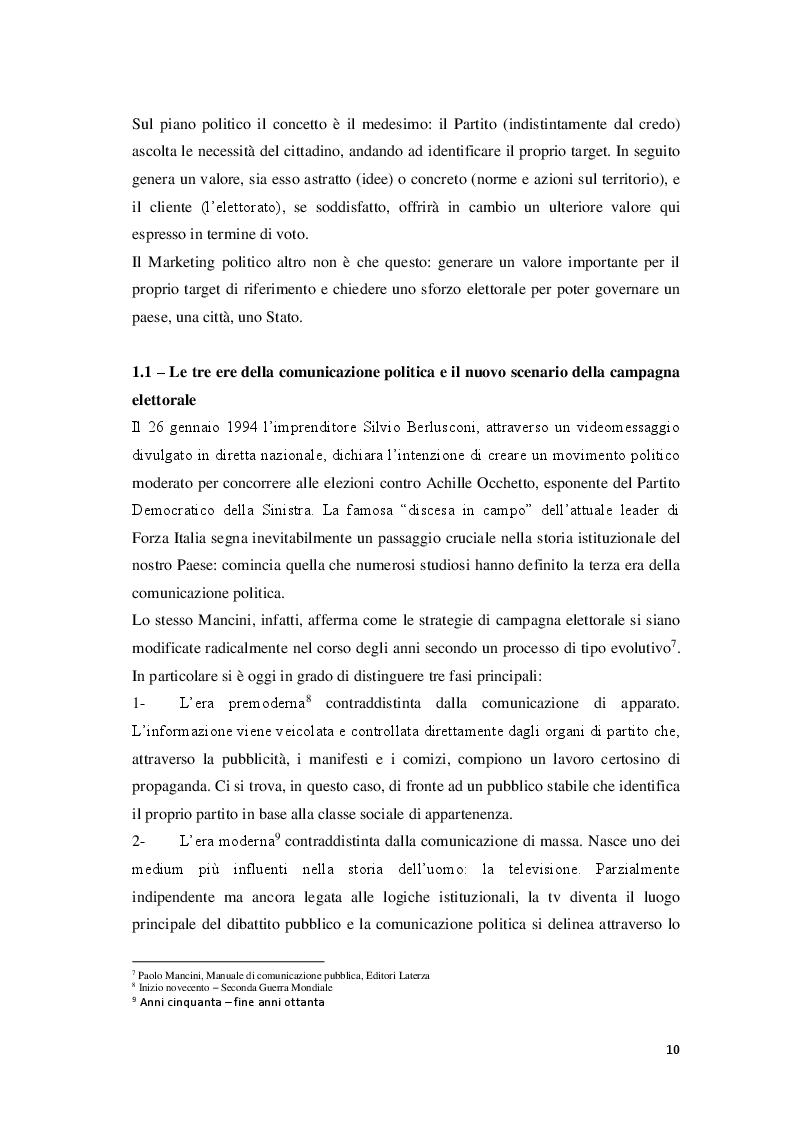 Anteprima della tesi: Marketing Politico: dai partiti nazionali alle amministrative di Milano, Pagina 8