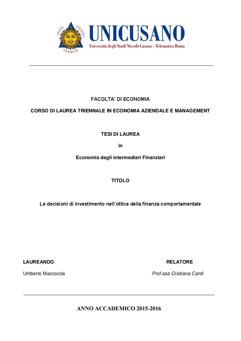Anteprima della tesi: Le decisioni di investimento nell'ottica della finanza comportamentale, Pagina 1