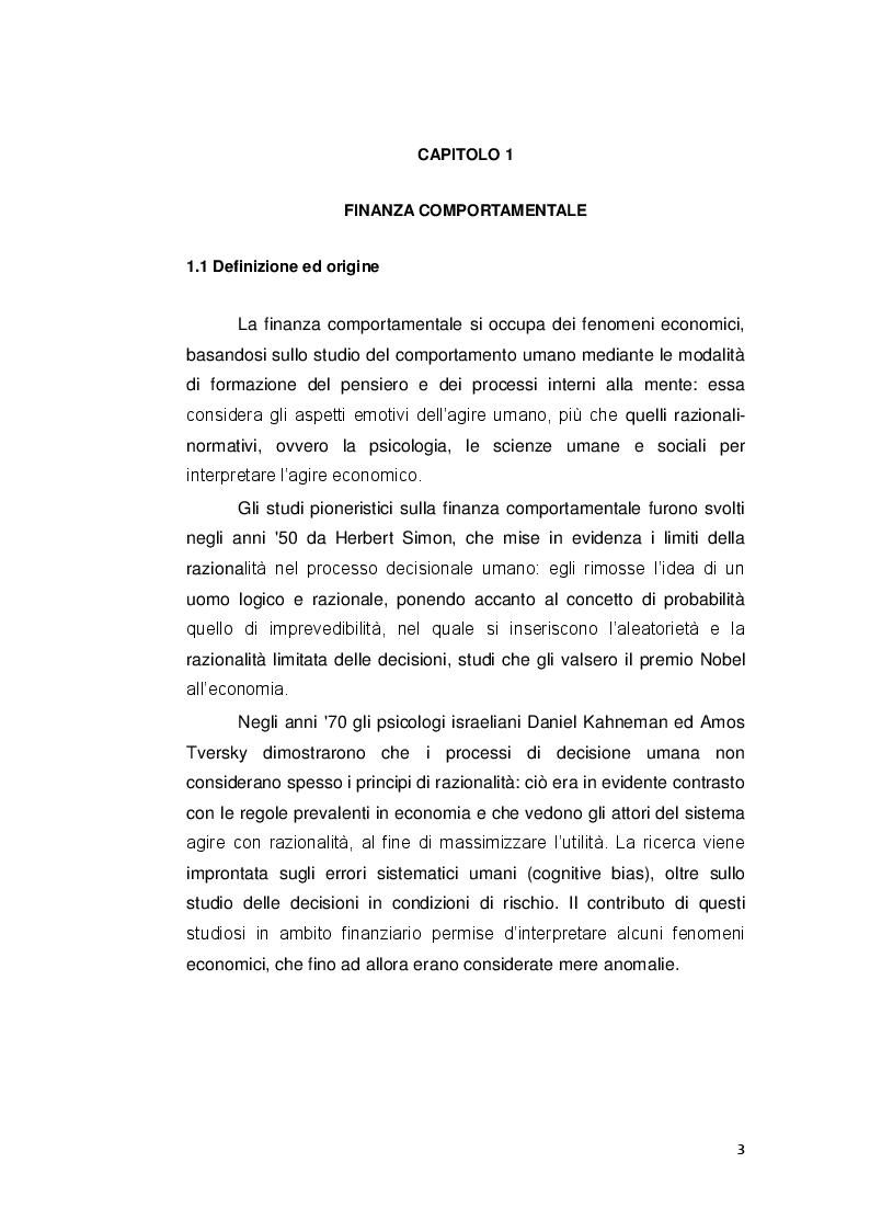 Anteprima della tesi: Le decisioni di investimento nell'ottica della finanza comportamentale, Pagina 2