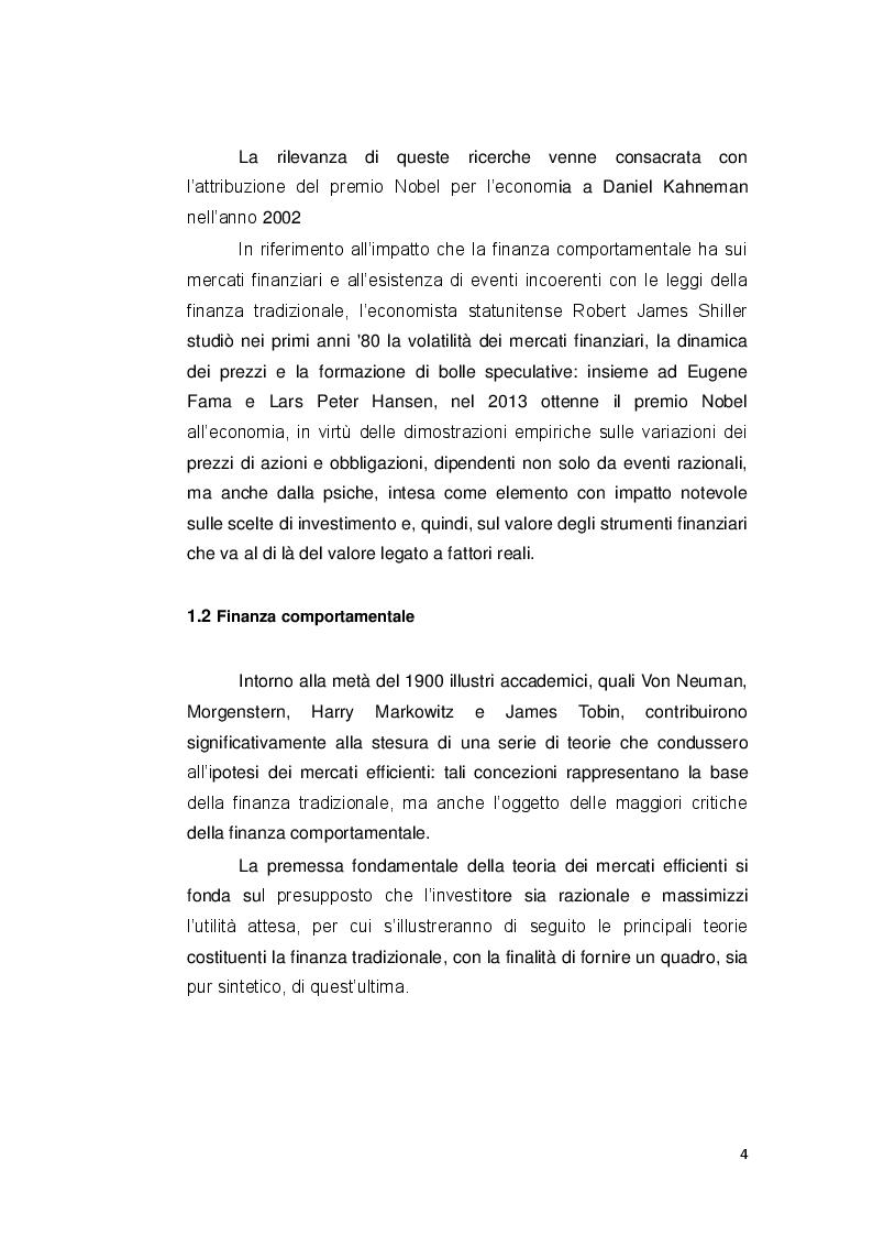 Anteprima della tesi: Le decisioni di investimento nell'ottica della finanza comportamentale, Pagina 3