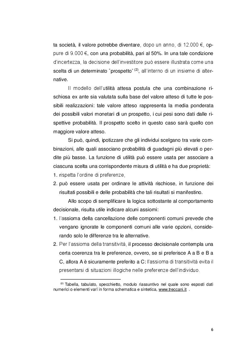 Anteprima della tesi: Le decisioni di investimento nell'ottica della finanza comportamentale, Pagina 5