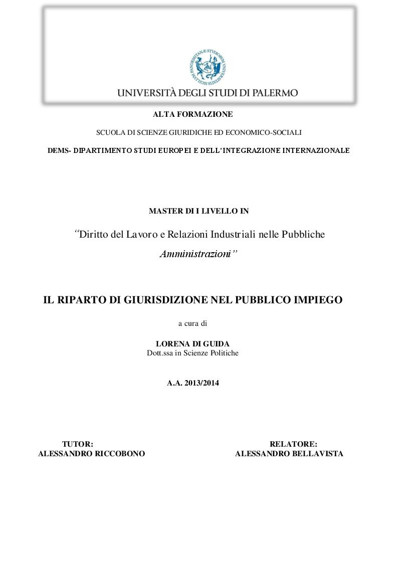 Anteprima della tesi: Il riparto di giurisdizione nel pubblico impiego, Pagina 1