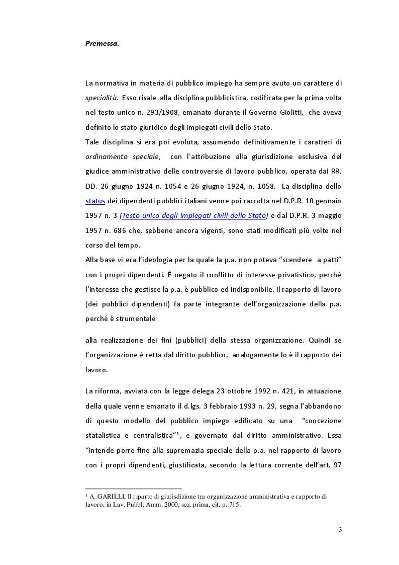 Anteprima della tesi: Il riparto di giurisdizione nel pubblico impiego, Pagina 2