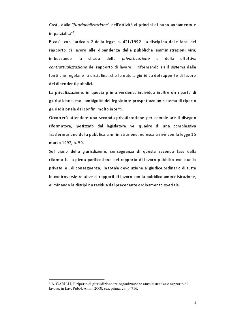 Anteprima della tesi: Il riparto di giurisdizione nel pubblico impiego, Pagina 3