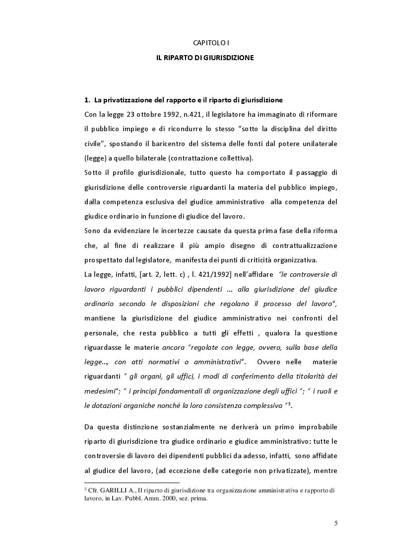 Anteprima della tesi: Il riparto di giurisdizione nel pubblico impiego, Pagina 4