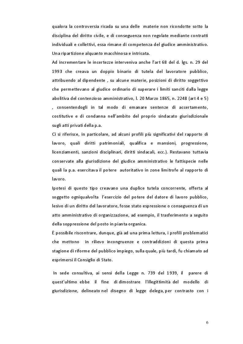 Anteprima della tesi: Il riparto di giurisdizione nel pubblico impiego, Pagina 5